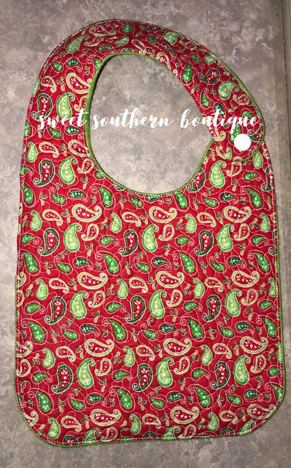 Paisley red & green quilted bib