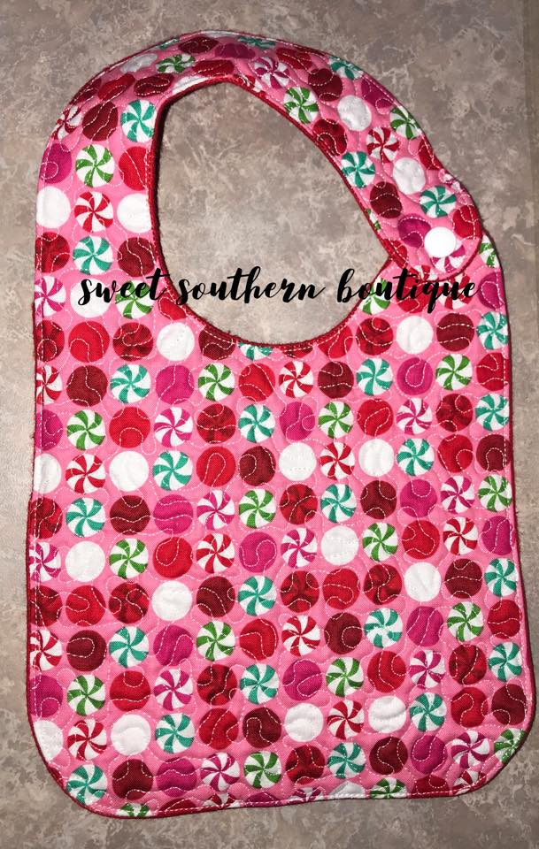 Peppermint quilted bib