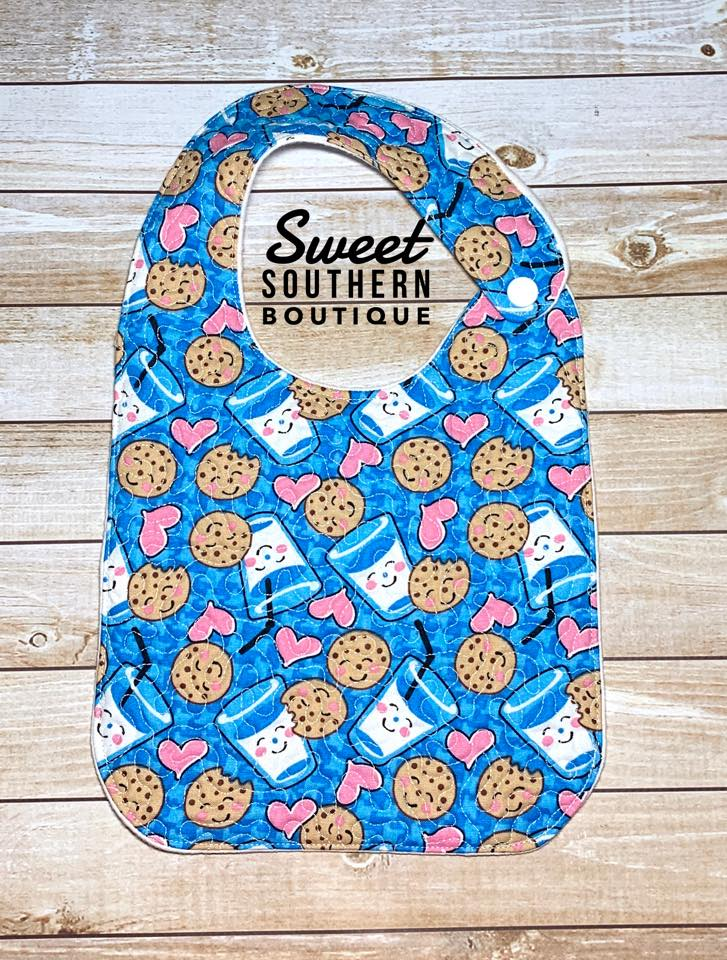 Cookies and milk blue quilted bib