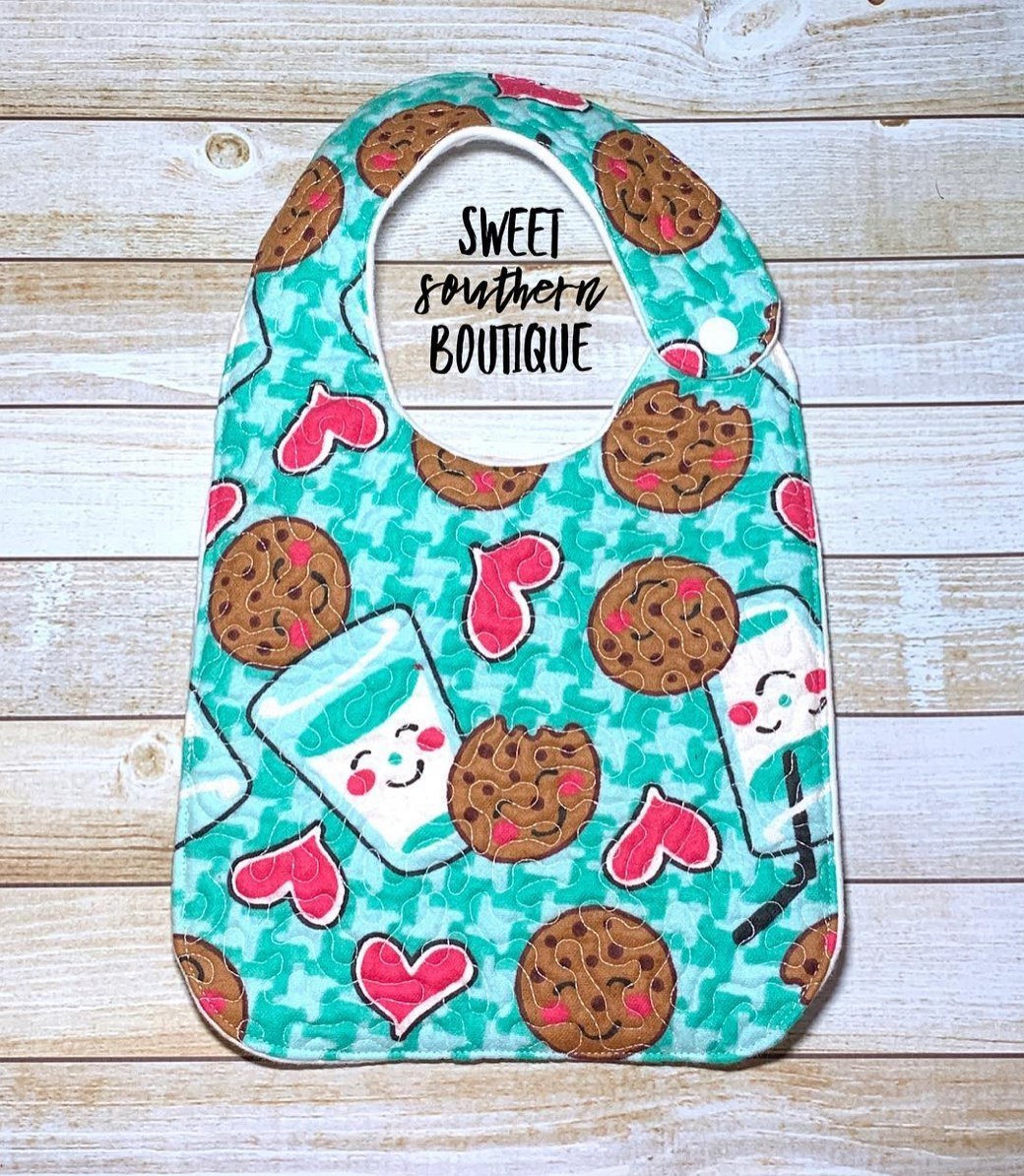 Cookies and milk green quilted bib