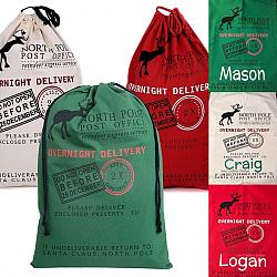 Personalized Santa Sack-Personalized Santa sack bag Christmas holiday tree present presents gift gifts sacks name family name last name kid kids child children names