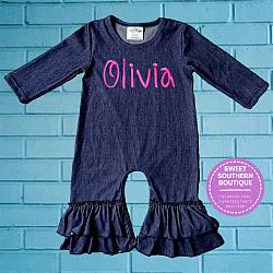Denim ruffle romper-Denim ruffle romper ruffles boy girl blue Jean jeans baby gift monogram monogrammed embroidered embroidery handmade photo outfit idea