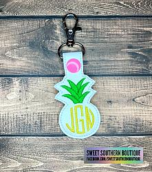 Monogrammed Pineapple Keychain Monogram-Key Fob Keyfob wife spouse husband girlfriend fiance hot pink gold turquoise keychain chain wristlet coastie spouse mom mother gift keychain key chain ring gifts idea ideas favor family fundraiser bag tag backpack tag badge reel clip id holder clasp swivel zipper pull back pack book bag bookbag purse pocketbook thank you gift matching vinyl leather fabric badge back to school personalized name monogram custom last letters ring pineapple summer fruit beach fun smile smiley face bow hairbow hair sunglasses glasses heart