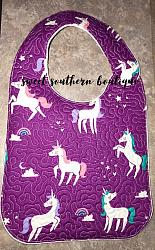 Purple unicorn quilted bib-quilted baby bib bibs flannel cotton fleece mink minky minkie blanket soft spit drool catcher pacifier clip bandana custom made handmade personalized monogram monogrammed embroider embroidered name letter pattern unicorn horse magic magical plastic snap snaps adjustable infant newborn preemie baby shower gift idea ideas