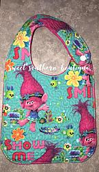 Poppy troll quilted bib-quilted baby bib bibs flannel cotton fleece mink minky minkie blanket soft spit drool catcher pacifier clip bandana custom made handmade personalized monogram monogrammed embroider embroidered name letter pattern poppy troll branch trolls pink blue boy girl hair cartoon cartoons show movie plastic snap snaps adjustable infant newborn preemie baby shower gift idea ideas