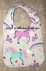 Unicorn gray quilted bib-quilted baby bib bibs flannel cotton fleece mink minky minkie blanket soft spit drool catcher pacifier clip bandana custom made handmade personalized monogram monogrammed embroider embroidered name letter pattern unicorn unicorns magic magical horse horses pony ponies crown boy girl rainbow rainbows cloud clouds plastic snap snaps adjustable infant newborn preemie baby shower gift idea ideas