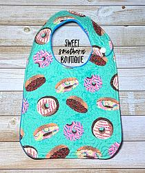 Donuts quilted bib-quilted baby bib bibs flannel cotton fleece mink minky minkie blanket soft spit drool catcher pacifier clip bandana custom made handmade personalized monogram monogrammed embroider embroidered name letter pattern donut donuts pink green blue aqua turquoise girl boy birthday plastic snap snaps adjustable infant newborn preemie baby shower gift idea ideas