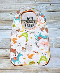 Barn animals quilted bib-quilted baby bib bibs flannel cotton fleece mink minky minkie blanket soft spit drool catcher pacifier clip bandana custom made handmade personalized monogram monogrammed embroider embroidered name letter pattern animal animals barn barnyard farm chicken rooster cow pig horse duck boy girl blue pink white plastic snap snaps adjustable infant newborn preemie baby shower gift idea ideas birthday
