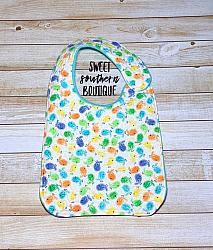 Birdies quilted bib-quilted baby bib bibs flannel cotton fleece mink minky minkie blanket soft spit drool catcher pacifier clip bandana custom made handmade personalized monogram monogrammed embroider embroidered name letter pattern plastic snap snaps adjustable infant newborn preemie baby shower gift idea ideas birthday party theme first birthday bird birdies tweety birds spring baby shower gift
