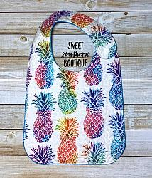 Pineapple quilted bib-quilted baby bib bibs flannel cotton fleece mink minky minkie blanket soft spit drool catcher pacifier clip bandana custom made handmade personalized monogram monogrammed embroider embroidered name letter pattern plastic snap snaps adjustable infant newborn preemie baby shower gift idea ideas birthday party theme first birthday pineapple pineapples hawaiian hawaii spongebob girl boy spring summer