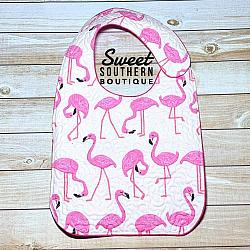 Flamingo white quilted bib-quilted baby bib bibs flannel cotton fleece mink minky minkie blanket soft spit drool catcher pacifier clip bandana custom made handmade personalized monogram monogrammed embroider embroidered name letter pattern plastic snap snaps adjustable infant newborn preemie baby shower gift idea ideas birthday party theme first birthday flamingo flamingos pink girl girly