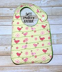 Pink birds quilted bib-quilted baby bib bibs flannel cotton fleece mink minky minkie blanket soft spit drool catcher pacifier clip bandana custom made handmade personalized monogram monogrammed embroider embroidered name letter pattern plastic snap snaps adjustable infant newborn preemie baby shower gift idea ideas birthday party theme first birthday bird birds birdie pink girl boy spring summer baby shower gift