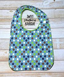 Boy dots quilted bib-quilted baby bib bibs flannel cotton fleece mink minky minkie blanket soft spit drool catcher pacifier clip bandana custom made handmade personalized monogram monogrammed embroider embroidered name letter pattern plastic snap snaps adjustable infant newborn preemie baby shower gift idea ideas birthday party theme first birthday baby shower gift boy girl dot dots polkadots polka blue navy green
