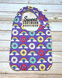 Rainbows & Donuts quilted bib-quilted baby bib bibs flannel cotton fleece mink minky minkie blanket soft spit drool catcher pacifier clip bandana custom made handmade personalized monogram monogrammed embroider embroidered name letter pattern rainbow rainbows donut donuts food plastic snap snaps adjustable infant newborn preemie baby shower gift idea ideas