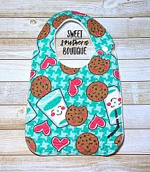 Cookies and milk green quilted bib-quilted baby bib bibs flannel cotton fleece mink minky minkie blanket soft spit drool catcher pacifier clip bandana custom made handmade personalized monogram monogrammed embroider embroidered name letter pattern plastic snap snaps adjustable infant newborn preemie baby shower gift idea ideas cookie cookies and milk if you give a mouse a cookie birthday party theme first birthday