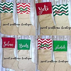 Christmas stockings-personalized embroidered Christmas stockings stocking holiday name monogram letter initial personalize it embroider embroidery sock burlap cotton fleece felt red green red white off white beige cream farmhouse farm house decor theme chevron zig zag solid color