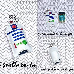 Robot R2D2 hand sanitizer case-Hand sanitizer case snap tab Key Fob Keyfob holder vinyl fabric keychain chain mom mother gift backpack kid child girl boy name monogram embroidered embroidery personalized unicorn star wars fox owl teacher school poop bag leash narwhal favor party bath and body works dollar tree purell up and up target 1 ounce 2 ounce oz size sanitizers clip badge bag container bow hairbow r2d2 robot