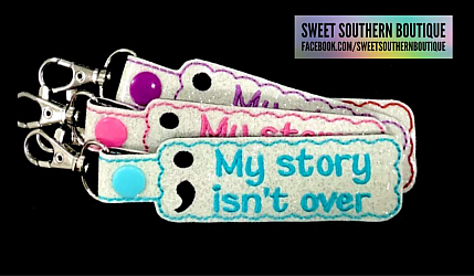 Semicolon My story isn't over yet keychain-Key Fob Keyfob wife spouse husband girlfriend fiance hot pink gold turquoise keychain chain wristlet coastie spouse mom mother gift keychain key chain ring gifts idea ideas favor family fundraiser bag tag backpack tag badge reel clip id holder clasp swivel zipper pull back pack book bag bookbag purse pocketbook thank you gift matching vinyl leather fabric badge back to school personalized name monogram custom last letters ring baseball base ball soft ball softball diamond number jersey suicide awareness semicolon semi colon depression mental health support