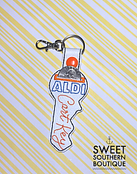 Aldi keychain version 2-aldi quarter keeper change 25 cents goodwill cart grocery buggy shopping saver holder keyfob key fob chain ring keychain snap tab embroidery embroidered vinyl opening pouch purse bag wallet case
