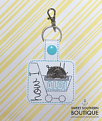 Aldi keyfob version 1-aldi quarter keeper change 25 cents goodwill cart grocery buggy shopping saver holder keyfob key fob chain ring keychain snap tab embroidery embroidered vinyl opening pouch purse bag wallet case Key Fob Keyfob wife spouse husband girlfriend fiance hot pink gold turquoise keychain chain wristlet coastie spouse mom mother gift keychain key chain ring gifts idea ideas favor family fundraiser bag tag backpack tag badge reel clip id holder clasp swivel