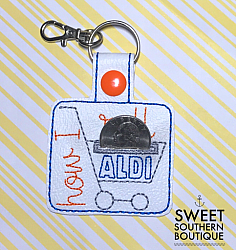 Aldi keyfob version 1 (2)-aldi quarter keeper change 25 cents goodwill cart grocery buggy shopping saver holder keyfob key fob chain ring keychain snap tab embroidery embroidered vinyl opening pouch purse bag wallet case