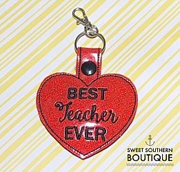 Best teacher ever keyfob-teacher keyfob keychain key chain fob snap ring tab swivel lobster best teacher ever teach school back to school end of year gift gifts idea ideas heart love appreciation appreciate thank thanks you science social studies math language arts english music gym pe sports athletic receptionist office vice principal geography world history band library id hook holder name back pack backpack tag zipper pull badge