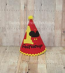 Add a matching birthday party hat-Happy birthday embroidered shirt first one 1 2 3 4 5 6 7 8 9 two three mouse cupcake candle number red black yellow pink blue green disney applique mickey mouse bow minnie oh twodles toodles crown birthday hat cake smash tie hair bow set bloomer diaper cover tie embroidery appliqued onesie dress romper outfit party 1st 2nd 3rd 4th 5th 6th 7th 8th 9th one ideas idea head face pastel bright chevron primary colors theme themed favors decorations pom pom rick rack lace ruffle string elastic ball yarn puff feather boa tulle the very hungry caterpillar unicorn princess fish nemo dory baseball ball pirate train ninja turtle dinosaur number name monogram monogrammed