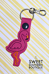 Flamingo keyfob-teacher keyfob keychain key chain fob snap ring tab swivel lobster best teacher ever teach school back to school end of year gift gifts idea ideas heart love appreciation appreciate thank thanks you receptionist office id hook holder name back pack backpack tag zipper pull badge support summer beach flamingo bird hot pink black vinyl leather fabric wristlet