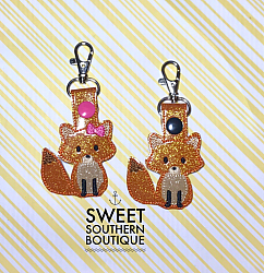 Fox snap tab keyfob-keychain keyfob keyring key chain fob ring swivel clip lobster clasp vinyl felt birthday gift gifts idea ideas for her for him fathers day mothers day christmas party favor theme themed fox foxes girl boy bow hair hairbow girly backpack tag zipper pull id holder