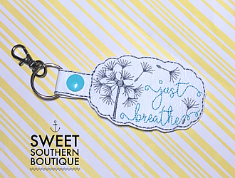 Just breathe keyfob-Key Fob Keyfob wife spouse husband girlfriend fiance hot pink gold turquoise keychain chain wristlet coastie spouse mom mother gift keychain key chain ring gifts idea ideas favor family fundraiser bag tag backpack tag badge reel clip id holder clasp swivel zipper pull back pack book bag bookbag purse pocketbook thank you gift matching vinyl leather fabric badge back to school personalized name monogram custom last letters ring