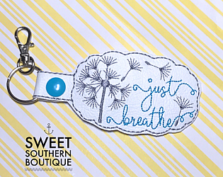 Just breathe keyfob 4-Key Fob Keyfob wife spouse husband girlfriend fiance hot pink gold turquoise keychain chain wristlet coastie spouse mom mother gift keychain key chain ring gifts idea ideas favor family fundraiser bag tag backpack tag badge reel clip id holder clasp swivel zipper pull back pack book bag bookbag purse pocketbook thank you gift matching vinyl leather fabric badge back to school personalized name monogram custom last letters ring