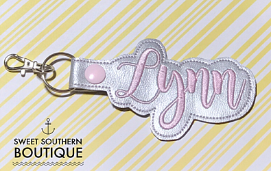 Custom name keyfob-custom name personalized embroidered embroidery monogram monogrammed letter letters cursive keyfob keychain key fob chain ring snap tab backpack back pack tag zipper pull id holder purse pocketbook badge back to school teach teacher gift gifts idea ideas favor matching match bag tag mom mothers mothers day bride wedding last name bridal shower bridesmaid gifts swivel clip leather vinyl