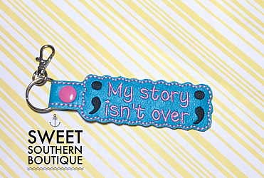 Semicolon keyfob My story isn't over yet-Key Fob Keyfob wife spouse husband girlfriend fiance hot pink gold turquoise keychain chain wristlet coastie spouse mom mother gift keychain key chain ring gifts idea ideas favor family fundraiser bag tag backpack tag badge reel clip id holder clasp swivel zipper pull back pack book bag bookbag purse pocketbook thank you gift matching vinyl leather fabric badge back to school personalized name monogram custom last letters ring baseball base ball soft ball softball diamond number jersey suicide awareness semicolon semi colon depression mental health support