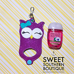 Owl hand sanitizer case-Hand sanitizer case snap tab Key Fob Keyfob holder vinyl fabric keychain chain mom mother gift backpack kid child girl boy name monogram embroidered embroidery personalized unicorn star wars fox owl teacher school poop bag leash narwhal favor party bath and body works dollar tree purell up and up target 1 ounce 2 ounce oz size sanitizers clip badge bag container bow hairbow