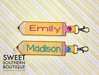 Pencil snap tab keyfob-custom name personalized embroidered embroidery monogram monogrammed letter letters cursive keyfob keychain key fob chain ring snap tab backpack back pack tag zipper pull id holder purse pocketbook badge back to school teach teacher gift gifts idea ideas favor matching match bag tag mom mothers mothers day bride wedding last name bridal shower bridesmaid gifts swivel clip leather vinyl pencil pen crayon colored yellow pink blue green purple orange red