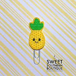 Pineapple smile planner clip paperclip-paperclip paper clip felt feltie planner band book journal calendar checkbook flag note notes books bookmark book mark Erin Condren inkwell Kikki K Filofax happy planner mambi create 365 pen kate spade summer fun pineapple smile smiley face bow hairbow hair sunglasses glasses heart