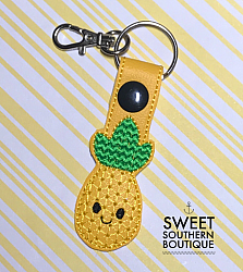 Pineapple smile keyfob-Key Fob Keyfob wife spouse husband girlfriend fiance hot pink gold turquoise keychain chain wristlet coastie spouse mom mother gift keychain key chain ring gifts idea ideas favor family fundraiser bag tag backpack tag badge reel clip id holder clasp swivel zipper pull back pack book bag bookbag purse pocketbook thank you gift matching vinyl leather fabric badge back to school personalized name monogram custom last letters ring pineapple summer fruit beach fun smile smiley face bow hairbow hair sunglasses glasses heart