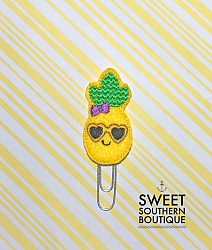 Pineapple sunglasses planner clip paperclip-paperclip paper clip felt feltie planner band book journal calendar checkbook flag note notes books bookmark book mark Erin Condren inkwell Kikki K Filofax happy planner mambi create 365 pen kate spade summer fun pineapple smile smiley face bow hairbow hair sunglasses glasses heart