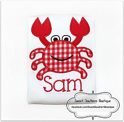 Crab shirt-Crab shirt kid kids child boy girl baby nautical beach ocean birthday theme sea world aquarium fish shark water themed party turtle hat outfit onesie red embroidery personalized name number mermaid crabby 1st first bib shower gift