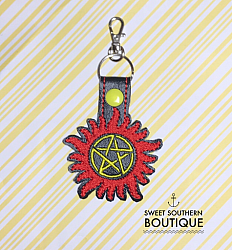 Supernatural keyfob-supernatural dean winchester sam winchester castiel angel demon keychain keyfob key fob chain ring super natural tattoo symbol logo trap gift idea ideas favor embroidered embroidery