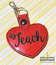 Teach keyfob-teacher keyfob keychain key chain fob snap ring tab swivel lobster best teacher ever teach school back to school end of year gift gifts idea ideas heart love appreciation appreciate thank thanks you science social studies math language arts english music gym pe sports athletic receptionist office vice principal geography world history band library id hook holder name back pack backpack tag zipper pull badge