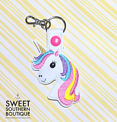 Unicorn keyfob version 2- felt feltie planner book journal calendar checkbook flag note notes books bookmark book mark Erin Condren inkwell Kikki K Filofax happy planner mambi create 365 pen kate spade horse horsey pony unicorn horn magic magical rainbow pastel bright flower flowers crown bow keyfob keychain key fob chain ring bag tag backpack tag zipper pull id holder reel clip gift gifts idea ideas snap tab badge