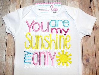 You are my sunshine shirt 1-Embroidered shirt onesie boy girl happy birthday first one 1st pink purple pastel glitter rainbow sparkles you are my sunshine my only new baby shower gift bib name cloud song sun nursery rhyme verse sibling