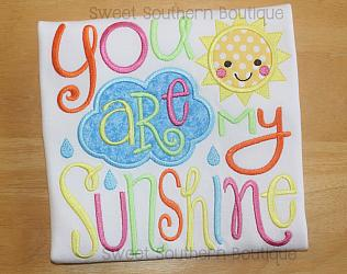 You are my sunshine shirt 2-Embroidered shirt onesie boy girl happy birthday first one 1st pink purple pastel glitter rainbow sparkles you are my sunshine my only new baby shower gift bib name cloud song sun nursery rhyme verse sibling 1